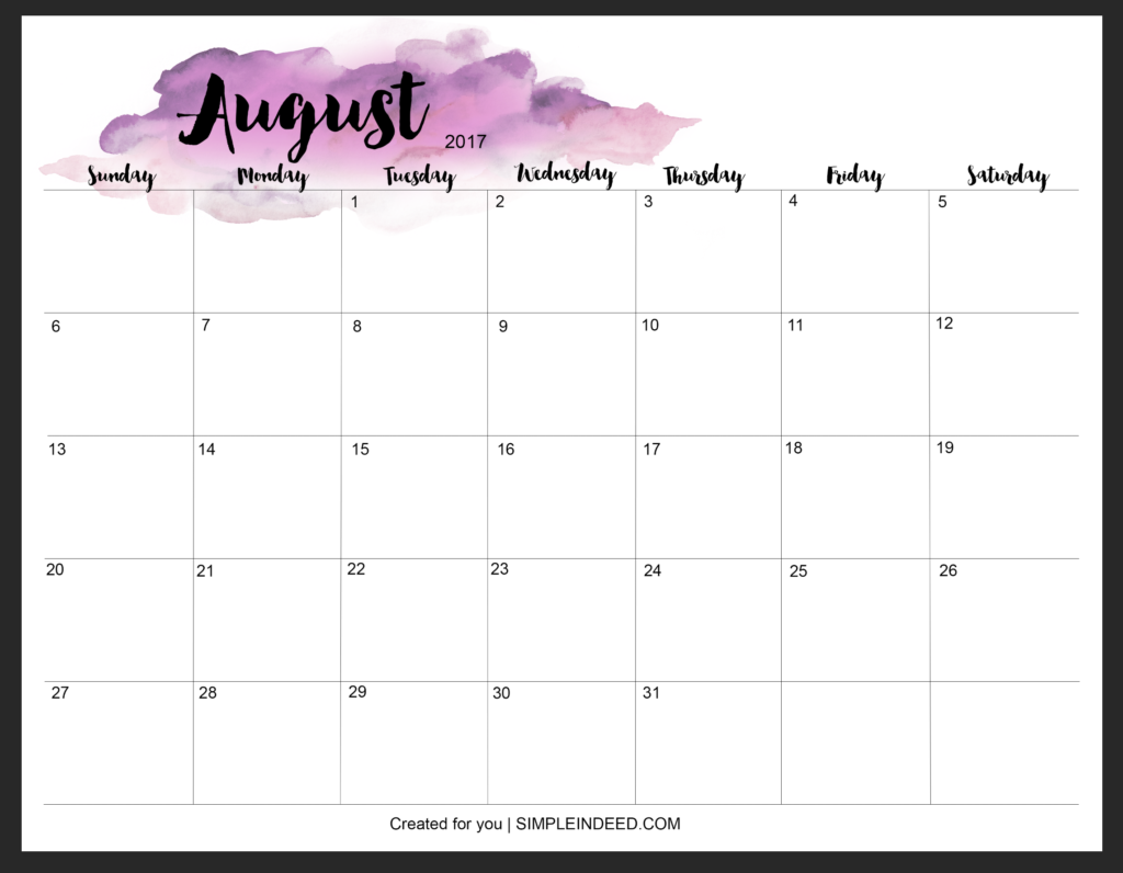 WATERCOLOR WALL PLANNER AUGUST 2017 - Simple Indeed